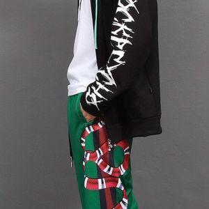 fashion Snake Graphic Printing Jersey Track Pants